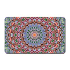 Abstract Painting Mandala Salmon Blue Green Magnet (rectangular) by EDDArt