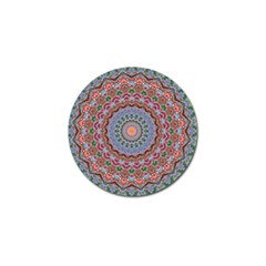Abstract Painting Mandala Salmon Blue Green Golf Ball Marker by EDDArt