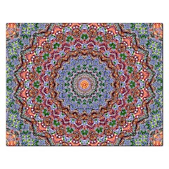 Abstract Painting Mandala Salmon Blue Green Rectangular Jigsaw Puzzl by EDDArt
