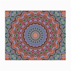 Abstract Painting Mandala Salmon Blue Green Small Glasses Cloth by EDDArt