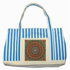 Abstract Painting Mandala Salmon Blue Green Striped Blue Tote Bag by EDDArt