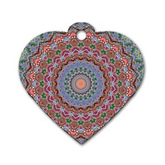 Abstract Painting Mandala Salmon Blue Green Dog Tag Heart (one Side)