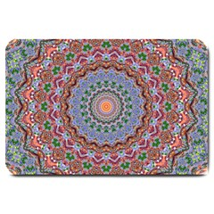 Abstract Painting Mandala Salmon Blue Green Large Doormat  by EDDArt