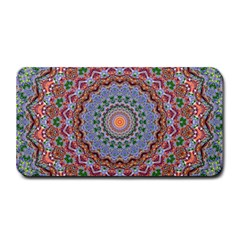 Abstract Painting Mandala Salmon Blue Green Medium Bar Mats by EDDArt