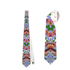 Abstract Painting Mandala Salmon Blue Green Neckties (one Side)  by EDDArt