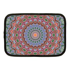 Abstract Painting Mandala Salmon Blue Green Netbook Case (medium)  by EDDArt