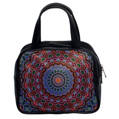 Abstract Painting Mandala Salmon Blue Green Classic Handbags (2 Sides) by EDDArt