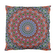 Abstract Painting Mandala Salmon Blue Green Standard Cushion Case (one Side) by EDDArt