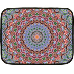 Abstract Painting Mandala Salmon Blue Green Double Sided Fleece Blanket (mini)  by EDDArt