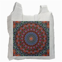 Abstract Painting Mandala Salmon Blue Green Recycle Bag (two Side)