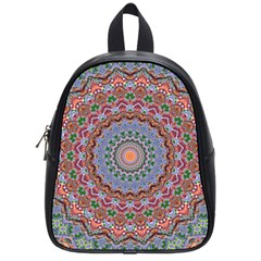 Abstract Painting Mandala Salmon Blue Green School Bags (small)  by EDDArt