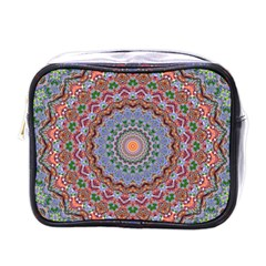 Abstract Painting Mandala Salmon Blue Green Mini Toiletries Bags