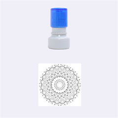 Abstract Painting Mandala Salmon Blue Green Rubber Round Stamps (small) by EDDArt
