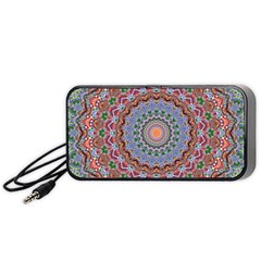 Abstract Painting Mandala Salmon Blue Green Portable Speaker (black)  by EDDArt