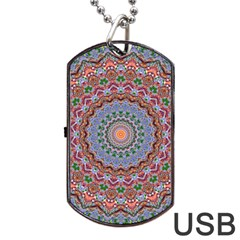 Abstract Painting Mandala Salmon Blue Green Dog Tag Usb Flash (two Sides)  by EDDArt