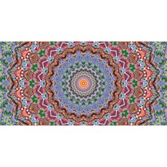 Abstract Painting Mandala Salmon Blue Green You Are Invited 3d Greeting Card (8x4) by EDDArt