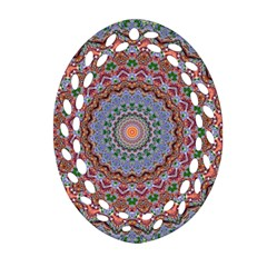 Abstract Painting Mandala Salmon Blue Green Oval Filigree Ornament (2 Side)  by EDDArt
