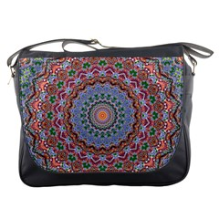 Abstract Painting Mandala Salmon Blue Green Messenger Bags by EDDArt