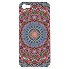 Abstract Painting Mandala Salmon Blue Green Apple Iphone 5 Hardshell Case by EDDArt