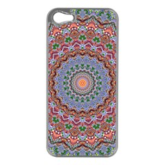 Abstract Painting Mandala Salmon Blue Green Apple Iphone 5 Case (silver) by EDDArt