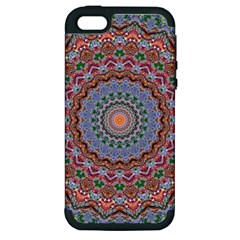 Abstract Painting Mandala Salmon Blue Green Apple Iphone 5 Hardshell Case (pc+silicone) by EDDArt