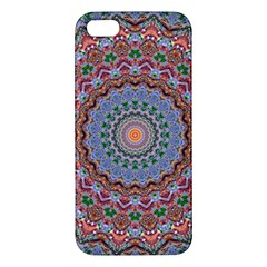 Abstract Painting Mandala Salmon Blue Green Apple Iphone 5 Premium Hardshell Case by EDDArt