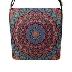 Abstract Painting Mandala Salmon Blue Green Flap Messenger Bag (l)  by EDDArt