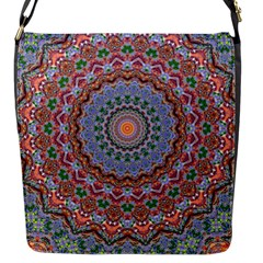 Abstract Painting Mandala Salmon Blue Green Flap Messenger Bag (s) by EDDArt