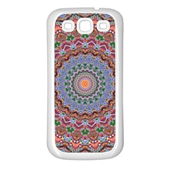Abstract Painting Mandala Salmon Blue Green Samsung Galaxy S3 Back Case (white) by EDDArt