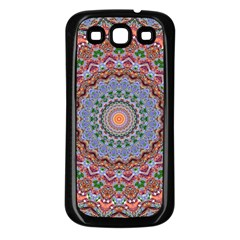 Abstract Painting Mandala Salmon Blue Green Samsung Galaxy S3 Back Case (black) by EDDArt
