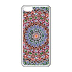 Abstract Painting Mandala Salmon Blue Green Apple Iphone 5c Seamless Case (white) by EDDArt