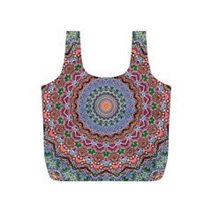 Abstract Painting Mandala Salmon Blue Green Full Print Recycle Bags (s)  by EDDArt