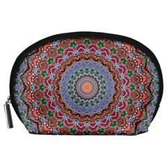 Abstract Painting Mandala Salmon Blue Green Accessory Pouches (large)  by EDDArt