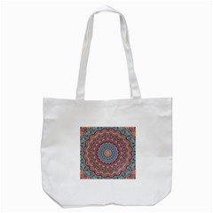 Abstract Painting Mandala Salmon Blue Green Tote Bag (white) by EDDArt