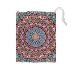 Abstract Painting Mandala Salmon Blue Green Drawstring Pouches (large)  by EDDArt