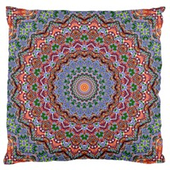 Abstract Painting Mandala Salmon Blue Green Large Flano Cushion Case (one Side) by EDDArt