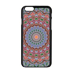 Abstract Painting Mandala Salmon Blue Green Apple Iphone 6/6s Black Enamel Case by EDDArt