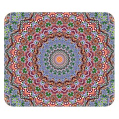 Abstract Painting Mandala Salmon Blue Green Double Sided Flano Blanket (small)  by EDDArt