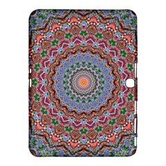 Abstract Painting Mandala Salmon Blue Green Samsung Galaxy Tab 4 (10 1 ) Hardshell Case  by EDDArt