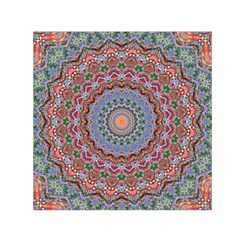 Abstract Painting Mandala Salmon Blue Green Small Satin Scarf (square) by EDDArt