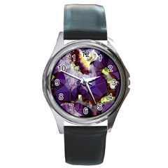 Purple Abstract Geometric Dream Round Metal Watch by DanaeStudio