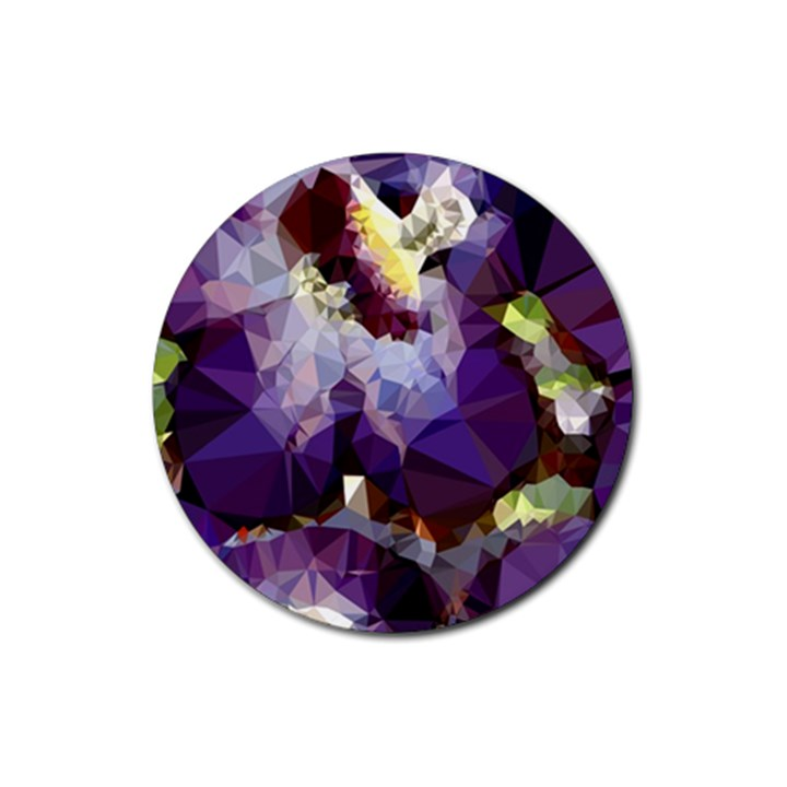 Purple Abstract Geometric Dream Rubber Round Coaster (4 pack)
