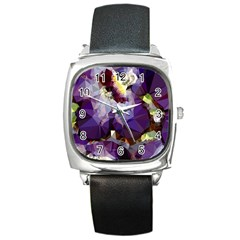Purple Abstract Geometric Dream Square Metal Watch by DanaeStudio