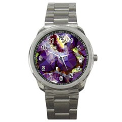 Purple Abstract Geometric Dream Sport Metal Watch by DanaeStudio
