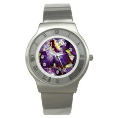 Purple Abstract Geometric Dream Stainless Steel Watch by DanaeStudio