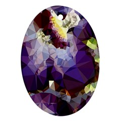 Purple Abstract Geometric Dream Oval Ornament (two Sides) by DanaeStudio