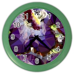 Purple Abstract Geometric Dream Color Wall Clocks by DanaeStudio