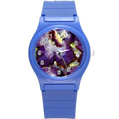 Purple Abstract Geometric Dream Round Plastic Sport Watch (s) by DanaeStudio