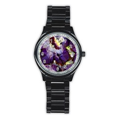 Purple Abstract Geometric Dream Stainless Steel Round Watch by DanaeStudio