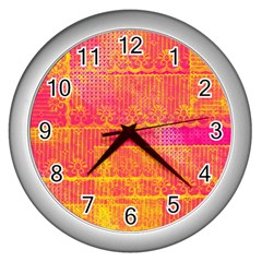 Yello And Magenta Lace Texture Wall Clocks (silver)  by DanaeStudio
